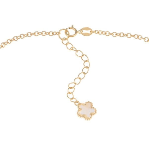 Glitzy Rocks 18k Gold/ Sterling Silver Mother of Pearl Flower Necklace