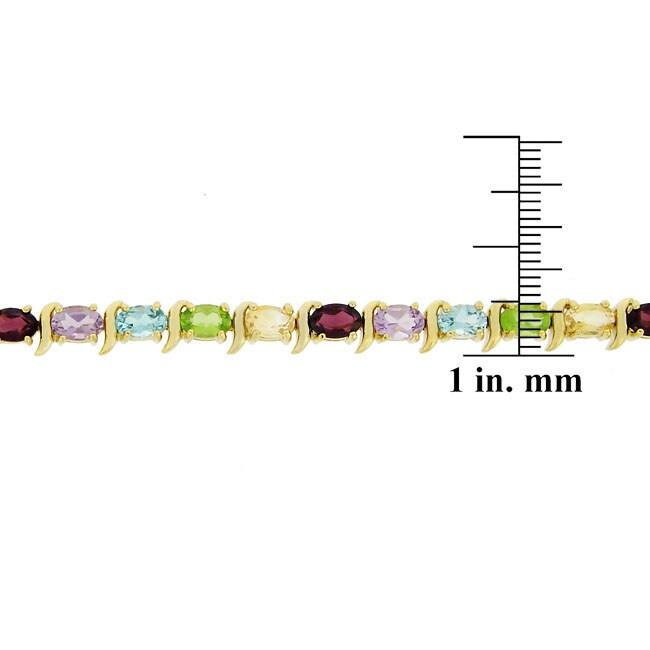 Glitzy Rocks Gold Over Silver Gemstone Link Bracelet - Thumbnail 1