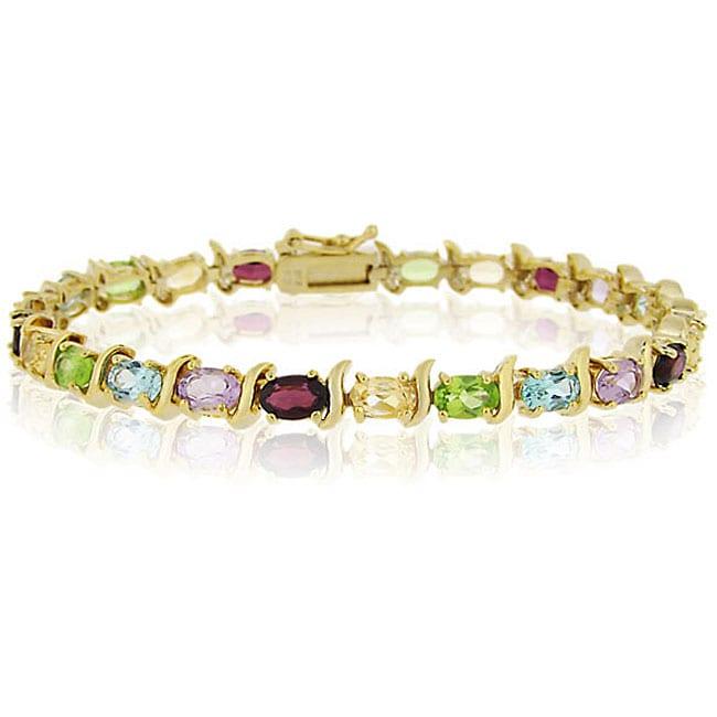 Glitzy Rocks Gold Over Silver Gemstone Link Bracelet