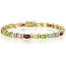 Glitzy Rocks 18k Gold over Silver Gemstone Link Bracelet