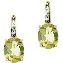 Glitzy Rocks 18k Gold Over Sterling Silver Lime Quartz Earrings