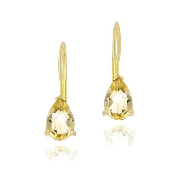 Glitzy Rocks 18k Gold Over Sterling Silver Citrine Pear-shape Earrings