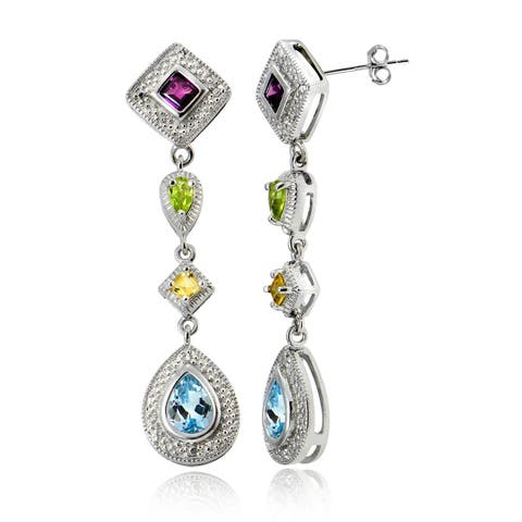 Glitzy Rocks Sterling Silver Multi-gemstone Dangle Earrings