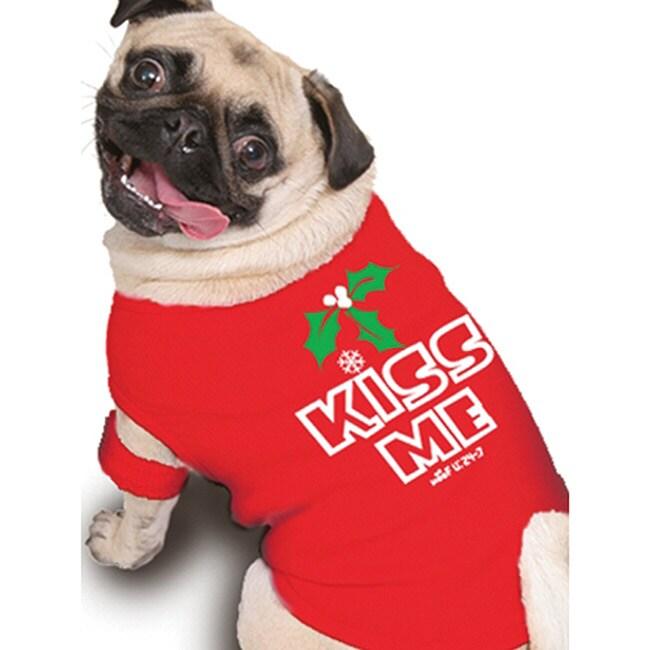 Ruff Ruff and Meow 'Kiss Me' Mistletoe Dog's Cotton Tank Top