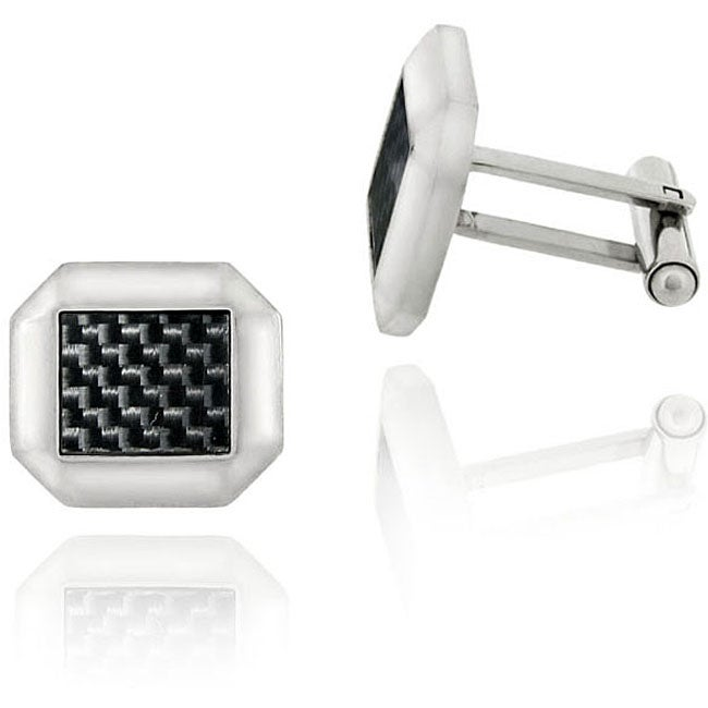 Mondevio Stainless Steel Black Square Cuff Links