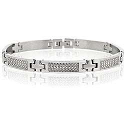 Mondevio Stainless Steel Men's X-shaped Link Bracelet