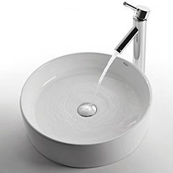 KRAUS Round Ceramic Vessel Bathroom Sink in White with Pop-Up Drain in Chrome