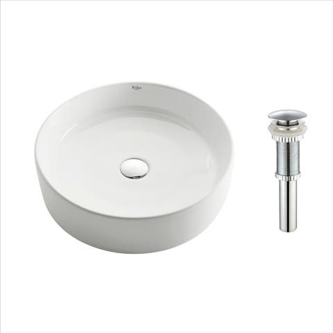 Kraus KCV-140 Elavo 18 Inch Round Vessel Porcelain Ceramic Vitreous Bathroom Sink in White, Pop Up Drain optional