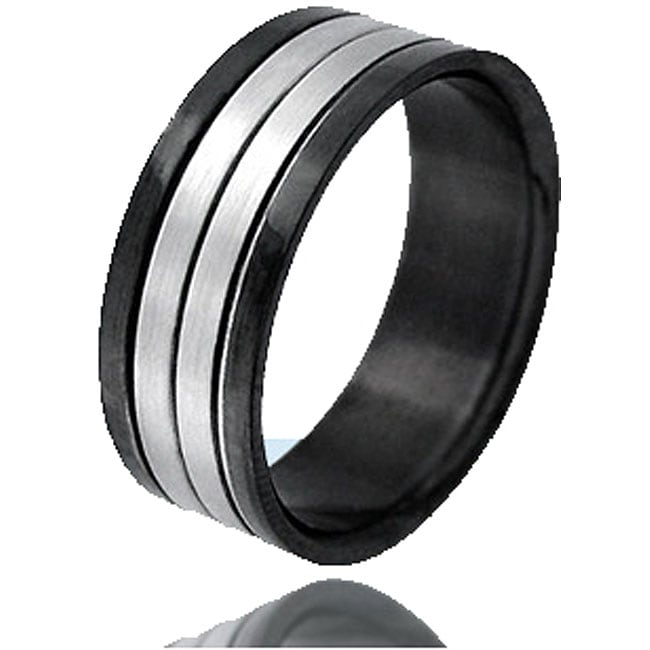 Black and Steel Ribbed Ring