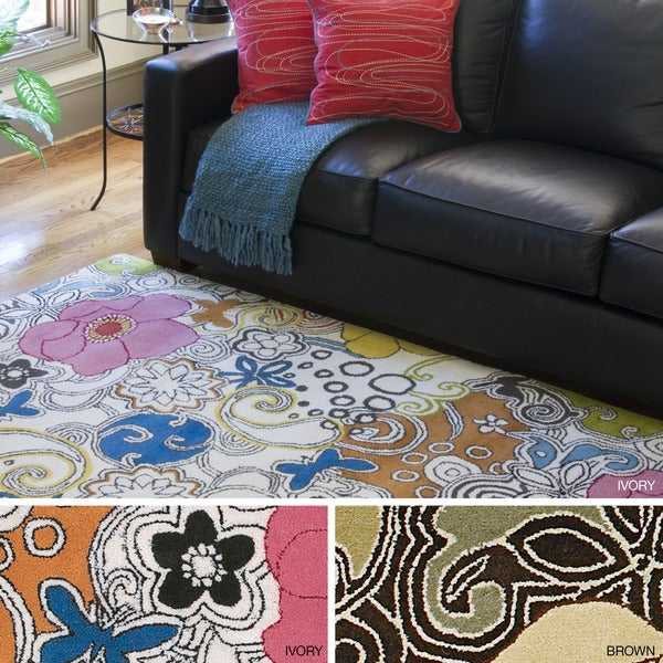 Hand-tufted Contemporary Multi-colored Floral Genesis New Zealand Wool Rug (3'3 x 5'3)