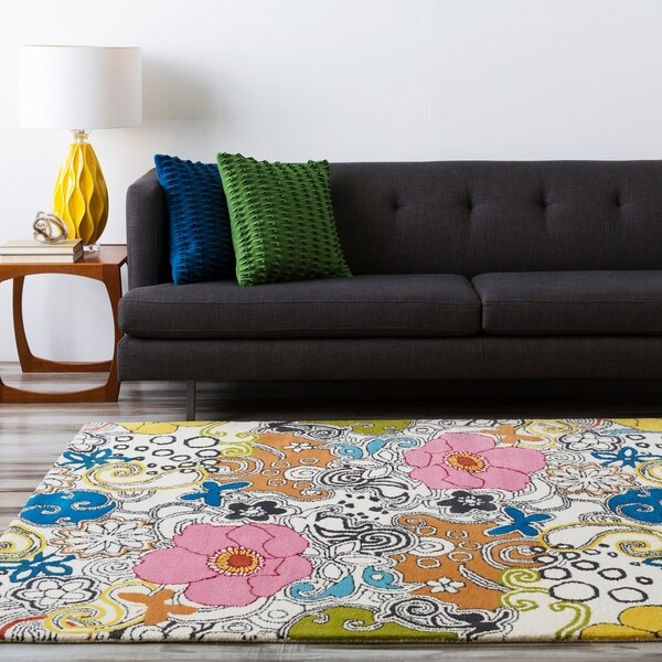 Hand-tufted Contemporary Multi-colored Floral Genesis New Zealand Wool Area Rug - 5' x 8'