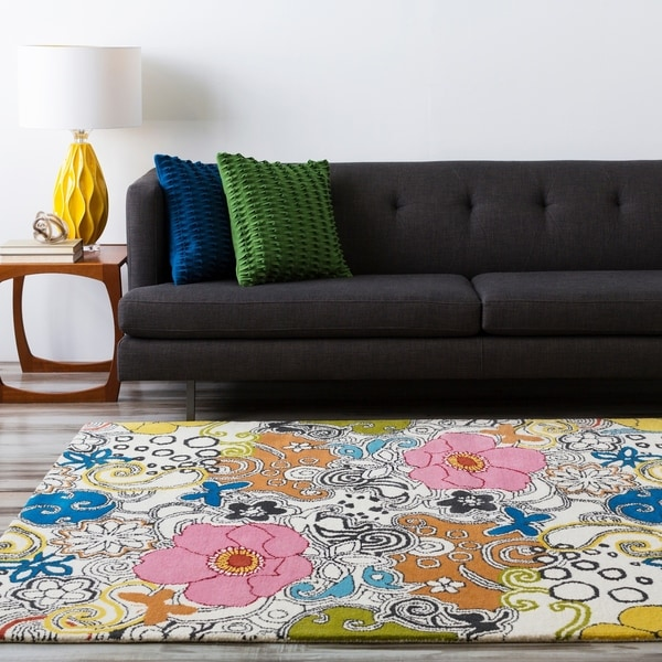 Hand-tufted Contemporary Multi Colored Floral Genesis Collection New Zealand Wool Area Rug - 7'9