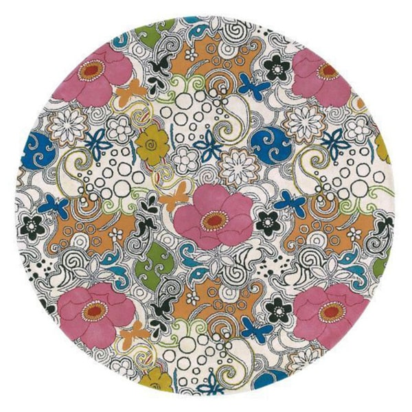 Hand-tufted Contemporary Multi Colored Floral Genesis Collection New Zealand Wool Rug (7'9 Round)