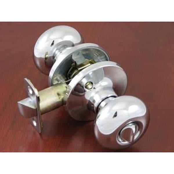 Polished Chrome Locking Privacy Doorknob Set