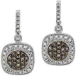 DB Designs Sterling Silver 2/5ct TDW Brown Diamond Dangle Earrings