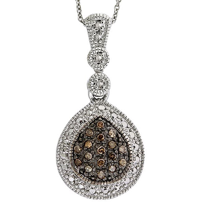 DB Designs Sterling Silver 1/5ct TDW Brown Diamond Teardrop Necklace