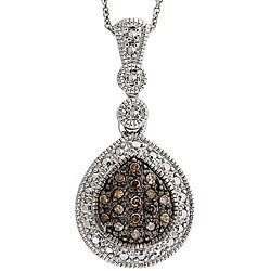 DB Designs Sterling Silver 1/5ct TDW Brown Diamond Teardrop Necklace