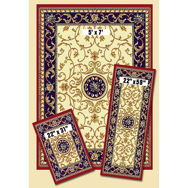 Achim Bordered Kashan Ivory 3 Piece Rug Set
