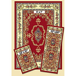 French Aubusson Red 3-piece Rug Set