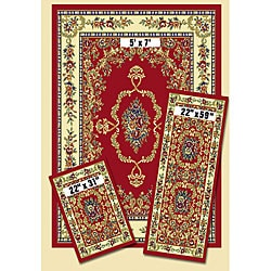 Achim French Aubusson Red 3-piece Rug Set