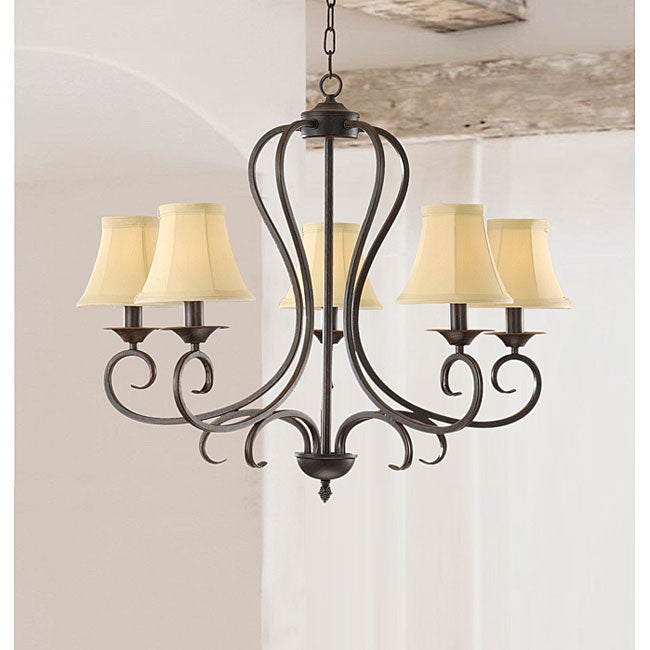 Iron 5-light Chandelier with Beige Shades - Thumbnail 0