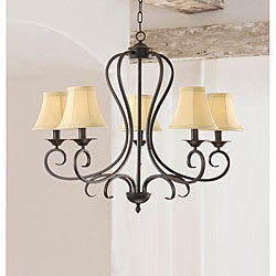 The Lighting Store Iron 5-light Chandelier with Beige Shades