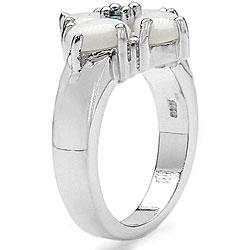 Malaika Sterling Silver Opal and London Blue Topaz Ring