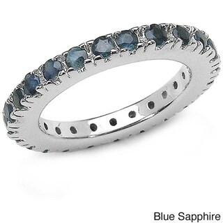 Malaika Sterling Silver Gemstone Eternity Ring