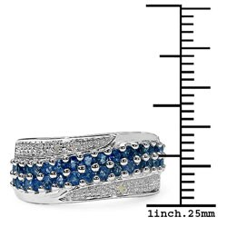 Malaika Sterling Silver Genuine Blue Sapphire and Diamond Ring
