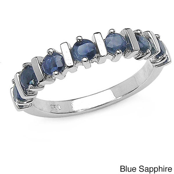 Malaika Sterling Silver Round-cut Sapphire Ring