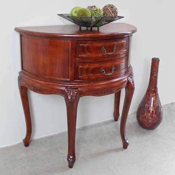 International Caravan Windsor Carved Half Moon Console Table