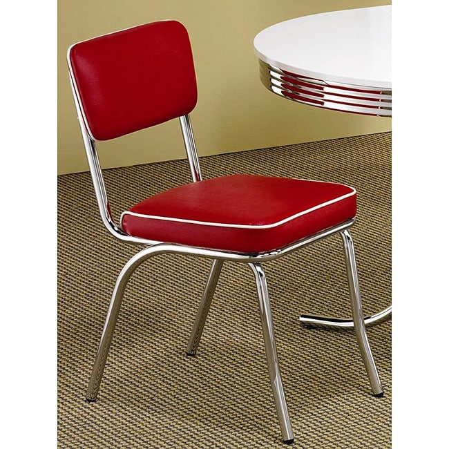 Merveilleux Rose Red Retro Chrome Chairs (Set Of 2)