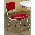 Rose Red Retro Chrome Chairs (Set of 2)