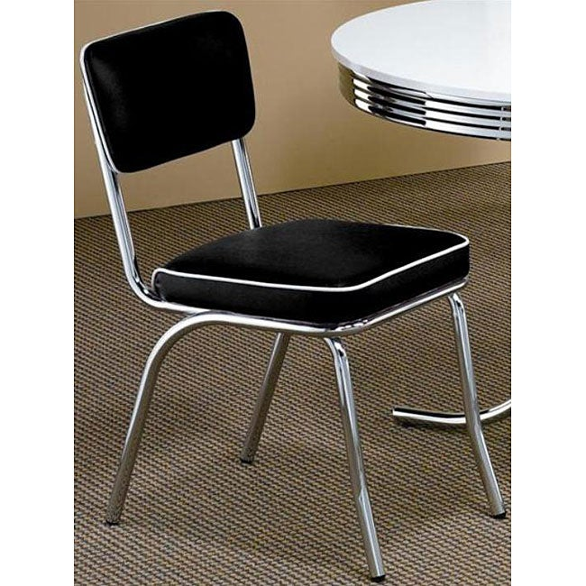 Coaster Furniture Black Retro Chrome Chairs (Set of 2)