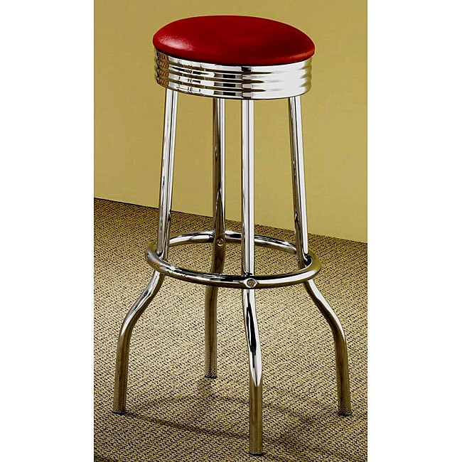 Rose Red Retro Chrome Bar Stools (Set of 2)