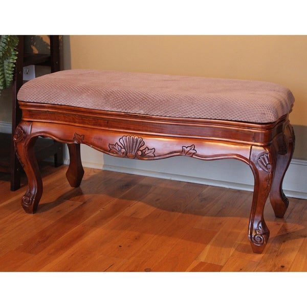 International Caravan Carved Wood Wide Vanity Bench