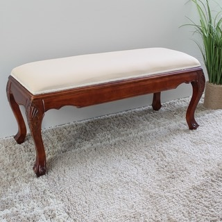 International Caravan Carved Wood Bed Bench