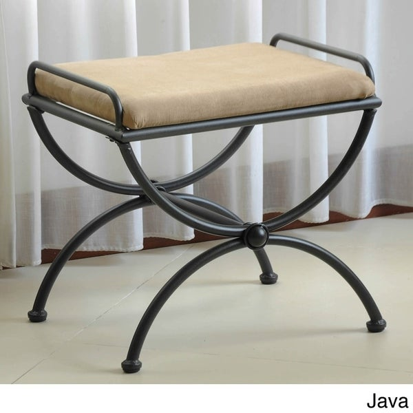 International Caravan Cambridge Iron Vanity Bench with Cushion
