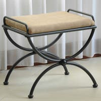 International Caravan Cambridge Iron Vanity Bench with Cushion