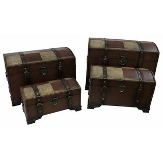 International Caravan Faux Leather Treasure Trunks (Set of 4)