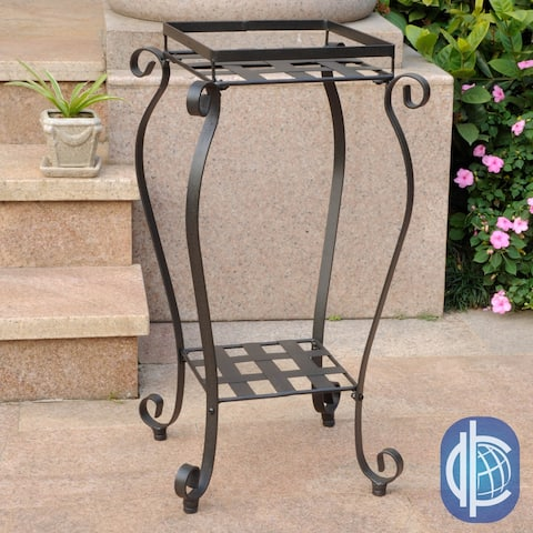 "International Caravan Mandalay Square Iron Plant Stand - 28""h x 15""w x 15""d"