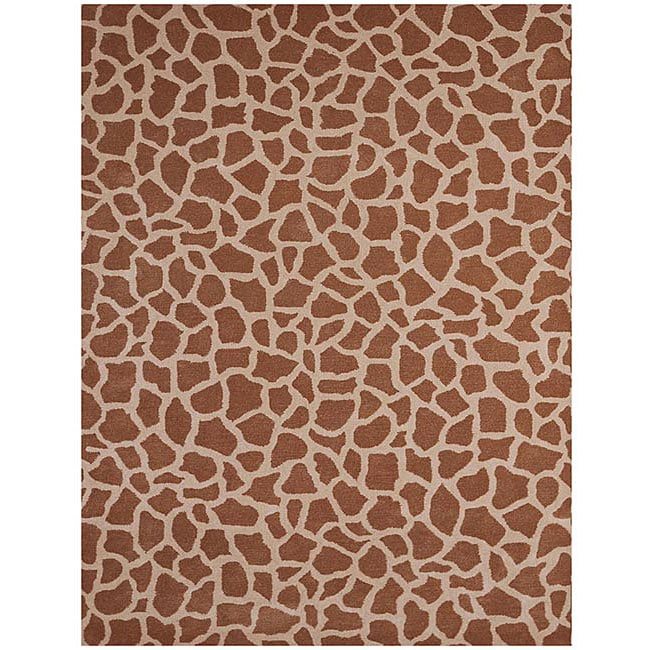 Hand-tufted Giraffe Beige Wool Rug (5' x 8')