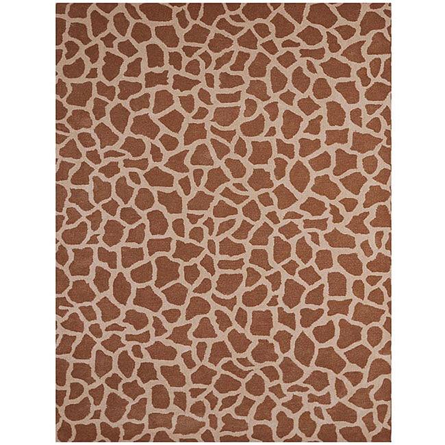 Hand-tufted Giraffe Beige Wool Rug (8' x 10'6)