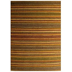 Hand-woven Striped Jute Rug (4' x 6')