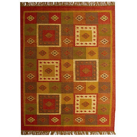 Handwoven Wool Area Rug - 5' x 8'