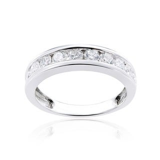 Miadora 14k White Gold Diamond Semi Eternity Wedding Band