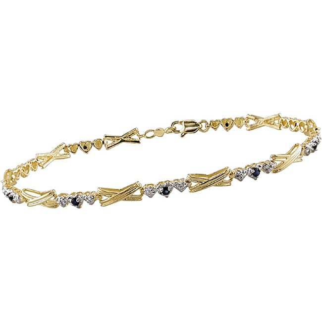 Miadora 10k Gold 'X' and Heart Link Blue Sapphire Bracelet