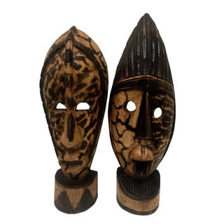 Set of 2 Handcarved Kronti Masks  , Handmade in Ghana