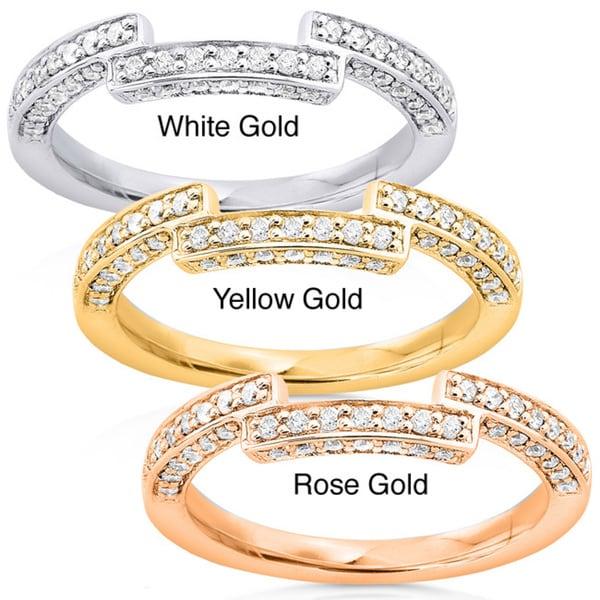 Annello 14k Gold 1/4ct TDW Round Diamond Curved Wedding Band