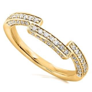 Annello 14k Gold 1/4ct TDW Round Diamond Curved Wedding Band (H-I, I1-I2)